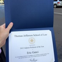 "TJSL awards Eric ""Adjunct Professor of the Year"""